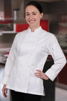 Picture of Chef Works - CWLJ-WHT - Marbella Women's White Executive Chef Coat