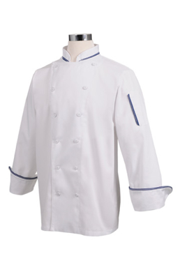 Picture of Chef Works - CBIJ - Garda White Executive Chef Coat w Blue Piping