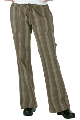 Picture of Chef Works - *BWOM-BRO - Women's Brown Plaid Chef Pants