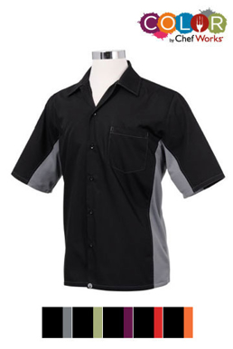 Picture of Chef Works - CSMC-BLM - Men's BlackGray Universal Contrast Cook Shirt