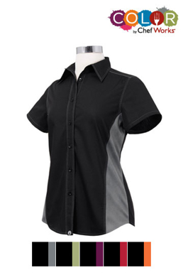 Picture of Chef Works - CSWC-BME - Female BlackMerlot Universal Contrast Shirt