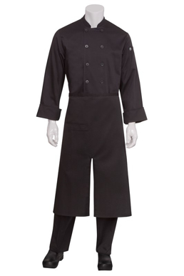 Picture of Chef Works - A400-BLK - Black Split Bistro Apron