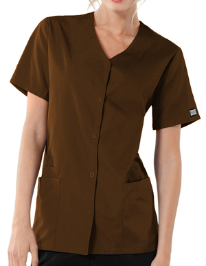 Picture of CHEROKEE-CH-4770-Cherokee Workwear Women's Short Sleeve Snap Scrub Top