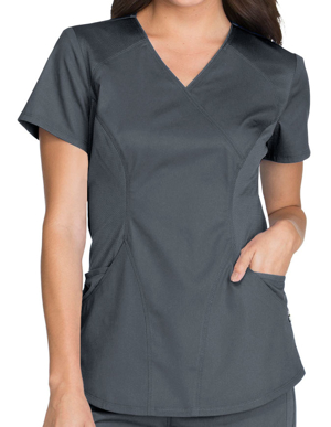 Picture of CHEROKEE-CH-CK603-Cherokee Luxe Sport Women's Mock Wrap Scrub Top