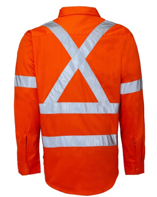 """Picture of Ritemate Workwear-RM106XR-Open Front with 3M 8910 Reflective Tape """"X"""" design Shirts"""