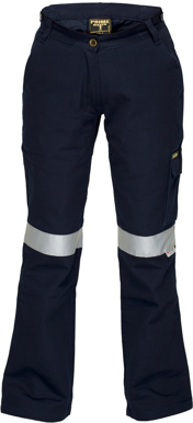 Picture of Prime Mover-ML709-Ladies Cotton Drill Cargo Pants with Reflective tape