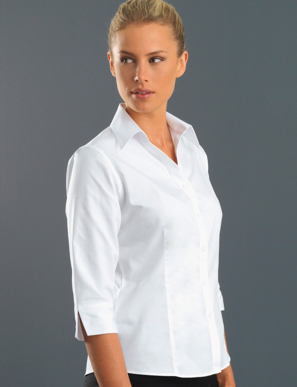 Picture of John Kevin Uniforms-100 White-Womens 3/4 Sleeve Poplin