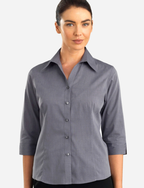 Picture of John Kevin Uniforms-160 Graphite-Womens 3/4 Sleeve Chambray