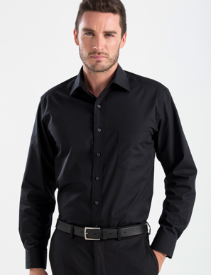 Picture of John Kevin Uniforms-200 Black-Mens Long Sleeve Poplin