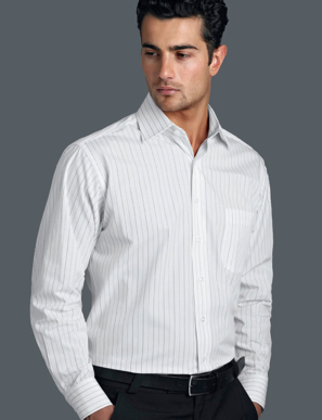 Picture of John Kevin Uniforms-206 White-Mens Long Sleeve Fine Stripe