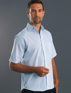 Picture of John Kevin Uniforms-213 Blue-Mens Short Sleeve Three Way Stripe
