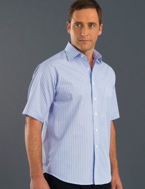 Picture of John Kevin Uniforms-219 Blue-Mens Short Sleeve Pinfeather Stripe