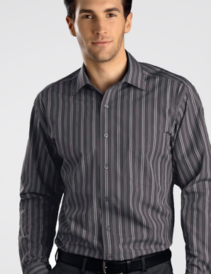 Picture of John Kevin Uniforms-224 Dark Grey-Mens Long Sleeve Multi Stripe