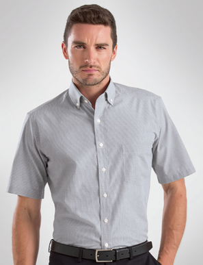 Picture of John Kevin Uniforms-457 Grey-Mens Short Sleeve Multi Check
