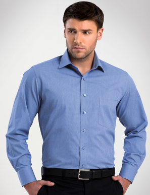 Picture of John Kevin Uniforms-464 Sapphire-Mens Long Sleeve Tonal Stripe
