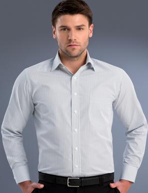 Picture of John Kevin Uniforms-466 Steel-Mens Long Sleeve Herringbone Stripe