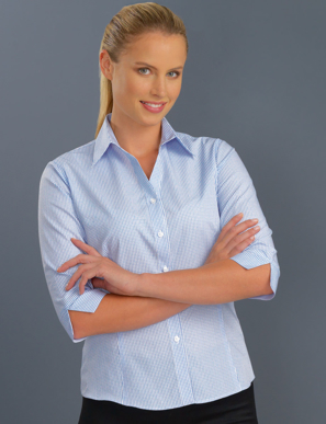 Picture of John Kevin Uniforms-324 Blue-Womens 3/4 Sleeve Mini Check