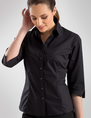 Picture of John Kevin Uniforms-360 Black- Womens 3/4 Sleeve Self-Stripe