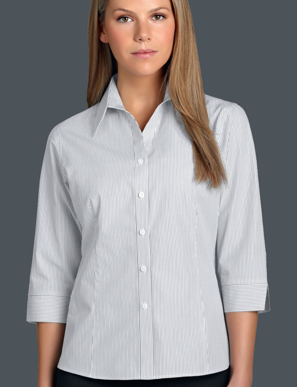 Picture of John Kevin Uniforms-366 Steel-Womens 3/4 Sleeve Herringbone Stripe