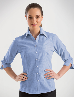 Picture of John Kevin Uniforms-350 Blue-Womens 3/4 Sleeve Simplicity Stripe