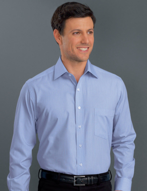 Picture of John Kevin Uniforms-436 Blue-Mens Long Sleeve Soft Stripe