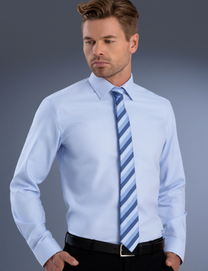 Picture of John Kevin Uniforms-838 Sky-Mens Slim Fit Long Sleeve Pinpoint Oxford