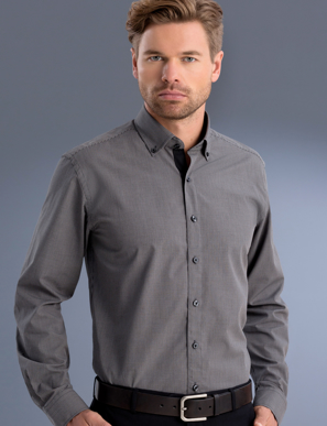 Picture of John Kevin Uniforms-874 Charcoal-Mens Slim Fit Long Sleeve Small Check