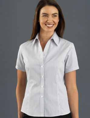 Picture of John Kevin Uniforms-367 Steel-Womens Short Sleeve Herringbone Stripe