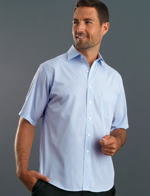 Picture of John Kevin Uniforms-425 Blue-Mens Short Sleeve Mini Check