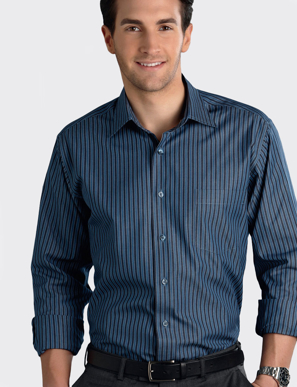 Picture of John Kevin Uniforms-442 Slate-Mens Long Sleeve Bold Stripe