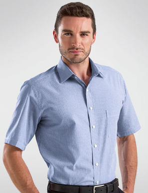 Picture of John Kevin Uniforms-451 Blue-Mens Short Sleeve Simplicity Stripe