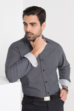 Picture of LSJ collection-2024L-NW-Mens Long sleeve euro fit shirt with contrast inner collar & cuff