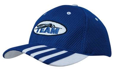 Picture of Headwear Stockist-4109-Sandwich Mesh with Striping on Peak