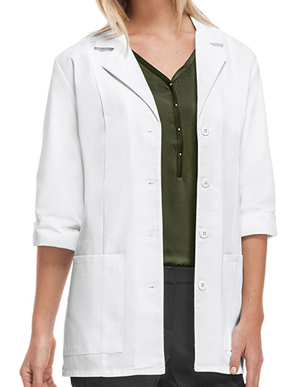 Picture of Cherokee Uniforms-CH-1470AB-Cherokee's Professional Whites with Certainty Women's 30 Inches Fluid Barrier 3/4 Sleeve Lab Coat