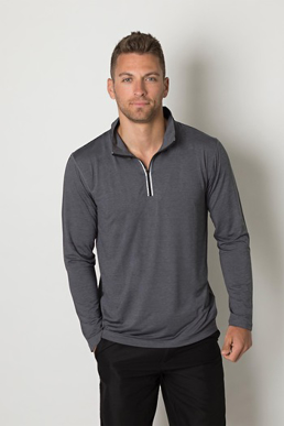 Picture of Be seen-BKHZ450-Mens charcoal heather soft touch fabric long sleeve top
