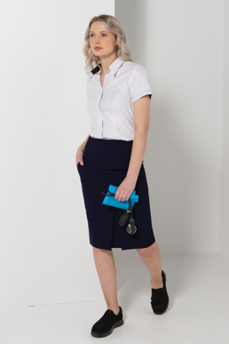Picture of LSJ collection-301-MG-Ladies Straight panel feature skirt with pockets