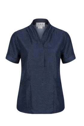 Picture of LSJ collection-211-FL-Ladies Pleated neckline tunic top with pockets