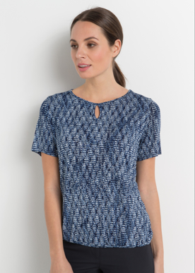Picture of LSJ collection-709-KNP-Ladies Long line keyhole neck banded hem top