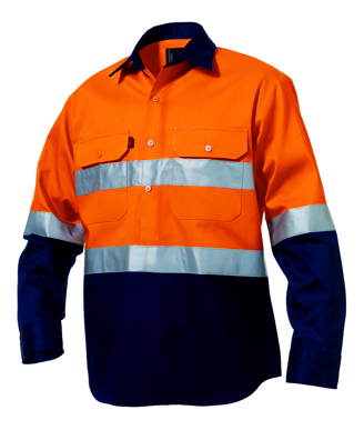 Picture of King Gee-K54315-Hi-Vis Reflective Spliced Drill Shirt L/S