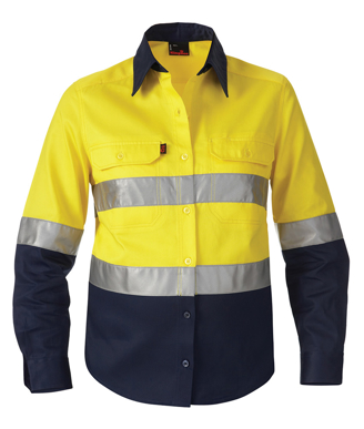 Picture of King Gee-K44532-Women's Reflective Spliced Drill Shirt L/S
