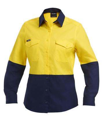 Picture of King Gee-K44543-Workcool 2 Women's Hi Vis Spliced Shirt L/S