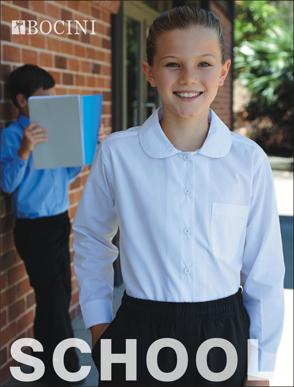 Picture of Bocini-CS1461-Girls Peter Pan Collar Long Sleeve School Shirt