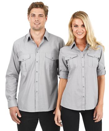 Picture of Identitee-W59(Identitee)-Ladies Long Sleeve Cross Hatch Casual Shirt