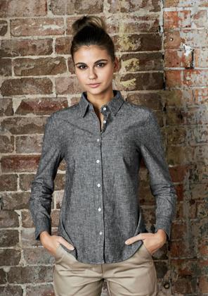 Picture of Identitee-W73(Identitee)-Ladies Long Sleeve Linen Cotton Shirt