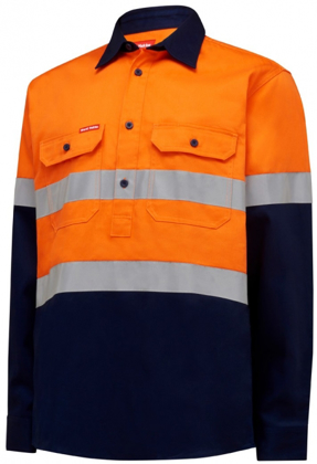 Picture of Hardyakka-Y04615-HIVIS LONG SLEEVE HEAVY WEIGHT CLOSED FRONT 2TONE SHIRT WITH TAPE