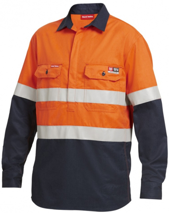 Picture of Hardyakka-Y04550-HI-VIS SPLICED CLOSED FRONT LONG SLEEVE SHIRT WITH FIRE RETARDENT TAPE